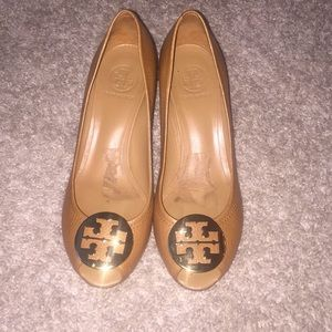 Tory Burch peep toe wedges